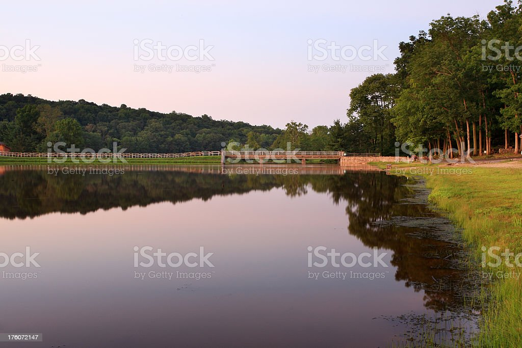 Sunset at Greenlane Lake royalty-free stock photo