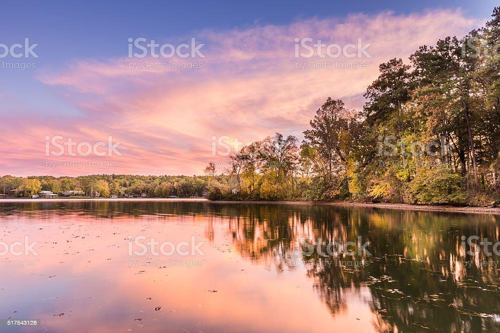 sunset at Hamilton Lake in Arkansas stock photo