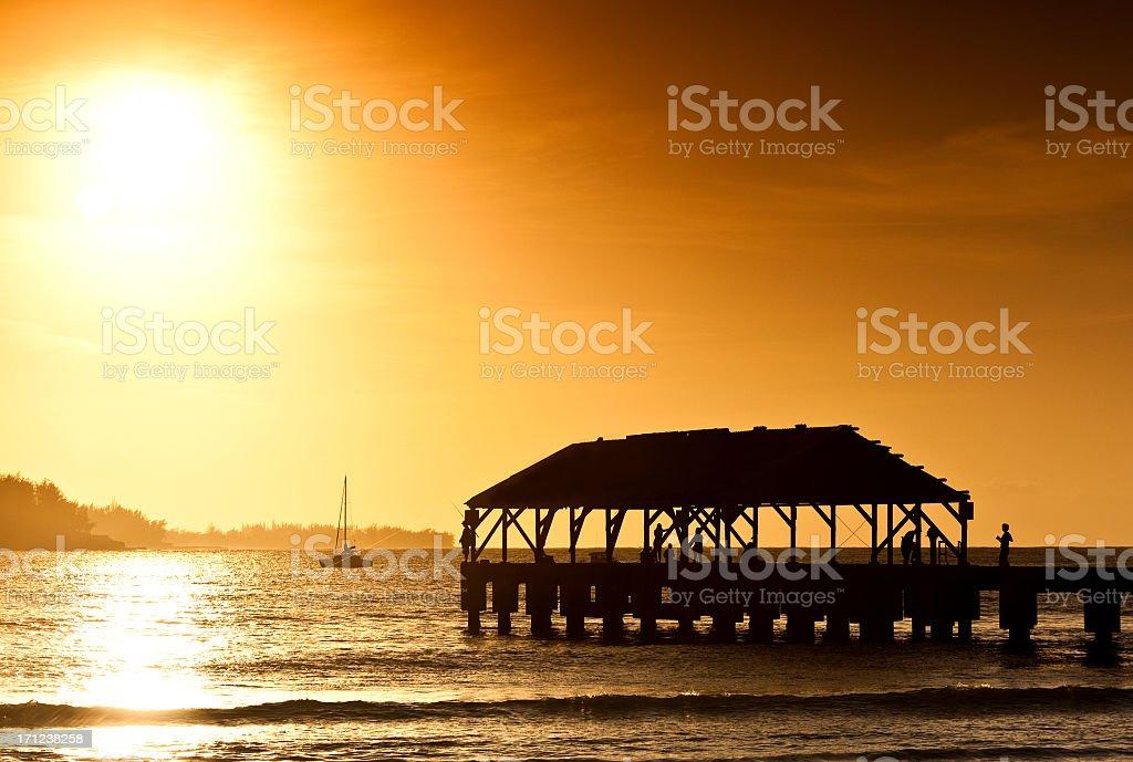 Sunset at Hanalai Bay royalty-free stock photo