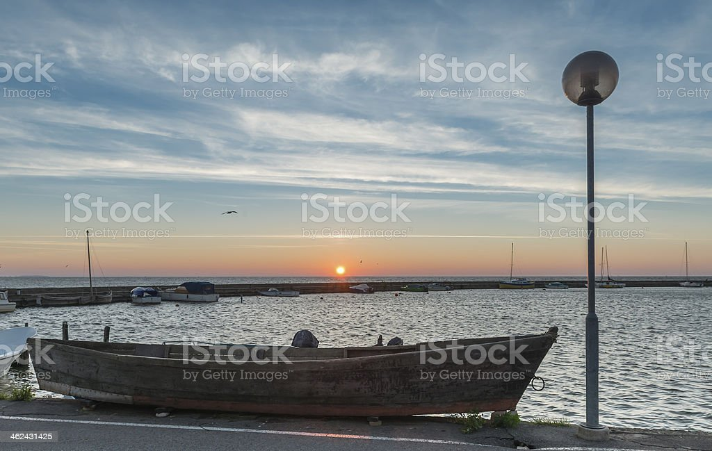Sunset at harbor in Nida village, Lithuania royalty-free stock photo