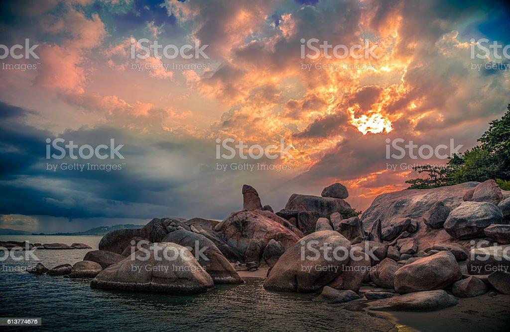 Sunset at Hin ta Hin yai stock photo