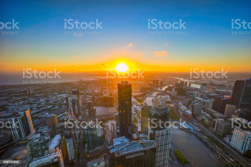 Sunset at Horizon over Melbourne skyline stock photo