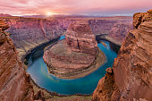 Sunset at Horseshoe Bend, near Page, Arizona.