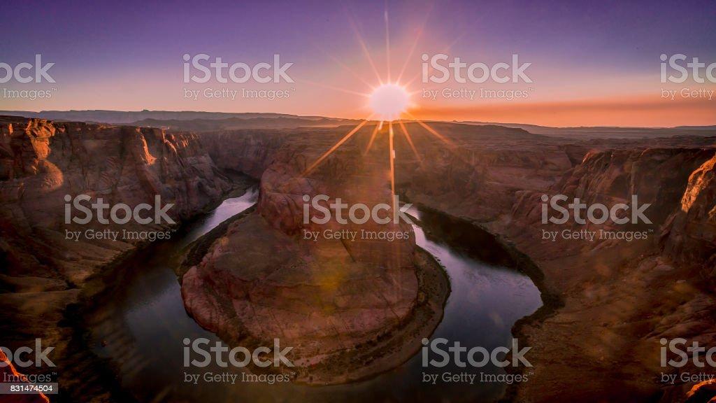 Sunset at Horseshoe Bend stock photo