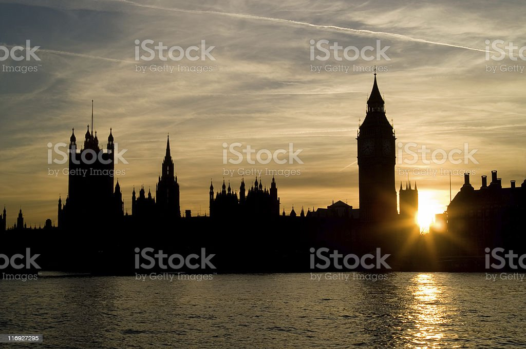Sunset at houses of Parliament royalty-free stock photo
