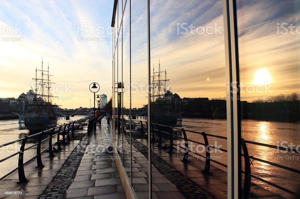 Sunset at IFSC, River Liffey, Dublin stock photo