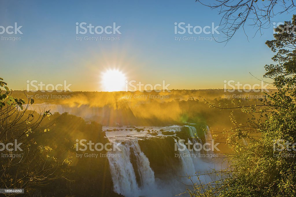 Sunset at Iguacu falls stock photo