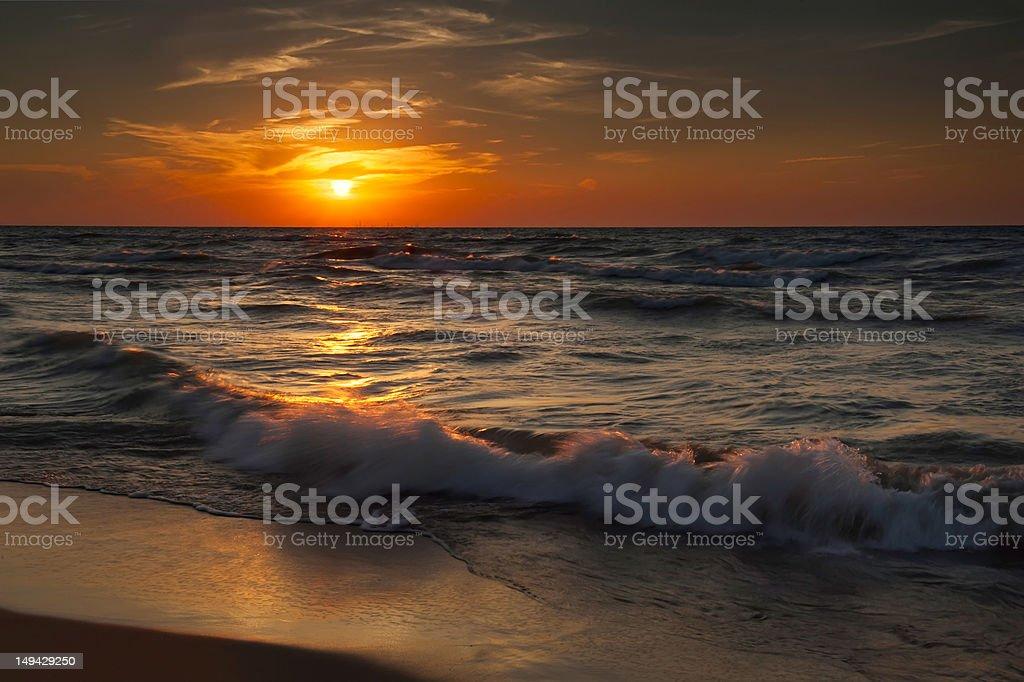 Sunset at Indiana Dunes stock photo