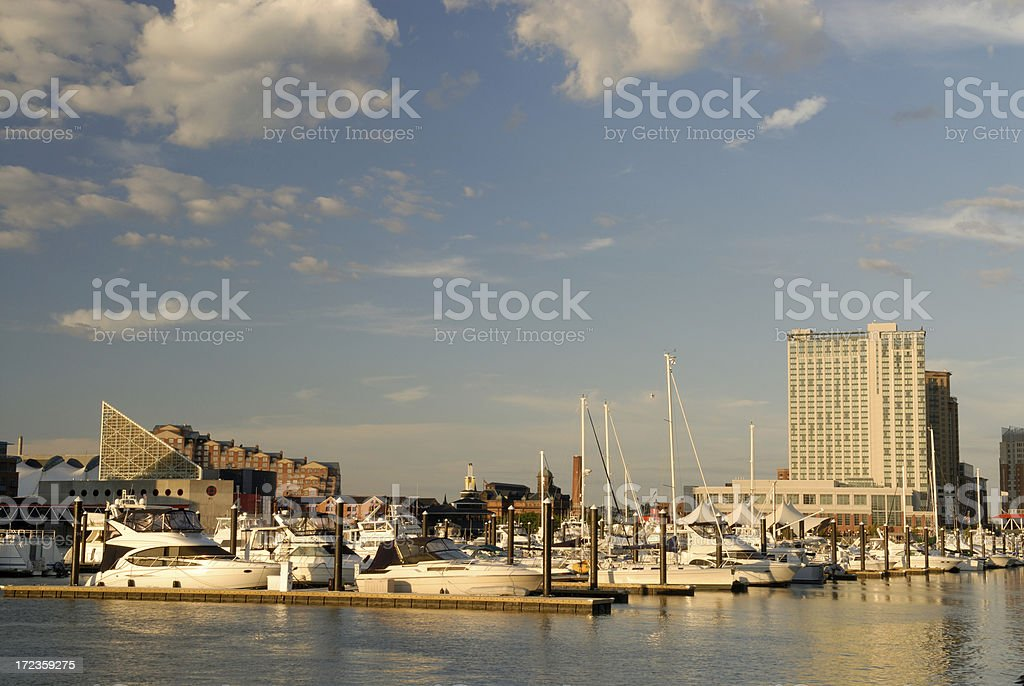 Sunset at Inner Harbor of Baltimore royalty-free stock photo