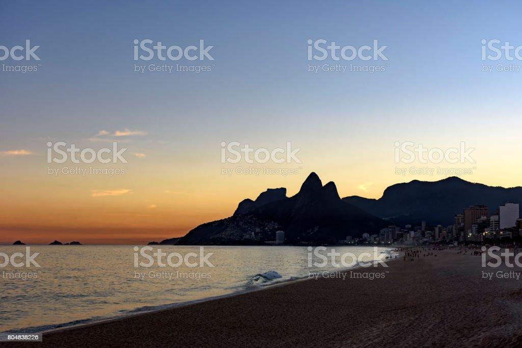 Sunset at Ipanema beach stock photo