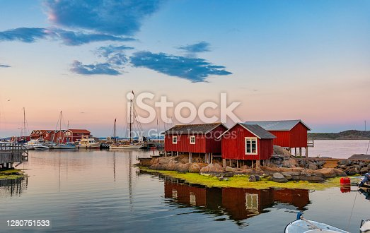 Sunset at island of Knippla in archipelago of Gothenburg, Sweden