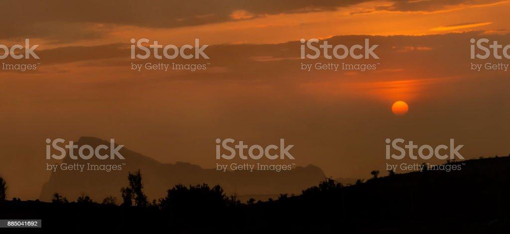 Sunset at Jebal Shams, Oman stock photo