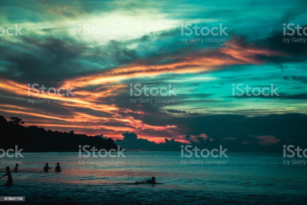 Sunset at Jimbaran Beach stock photo