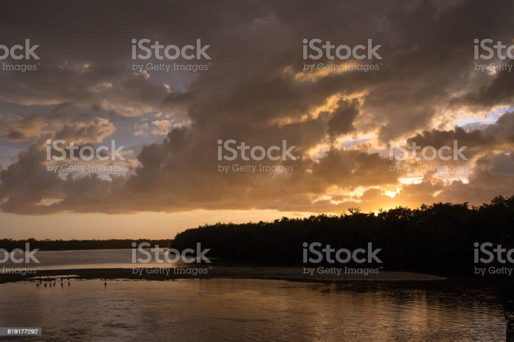 Sunset at J.N. ''Ding'' Darling National Wildlife Refuge, Sanibel Island, Florida, USA stock photo