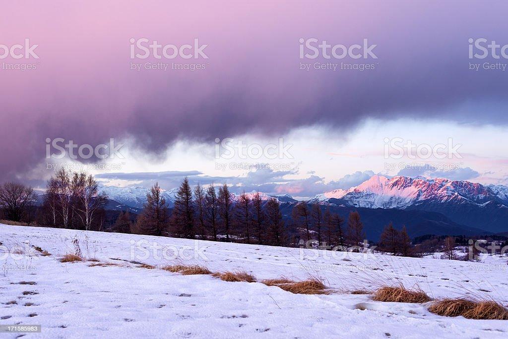 Sunset at Julian Alps Slovenia Europe royalty-free stock photo