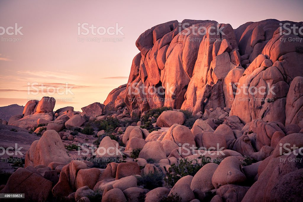 Sunset At Jumbo Rocks In Joshua Tree National Park royalty-free stock photo
