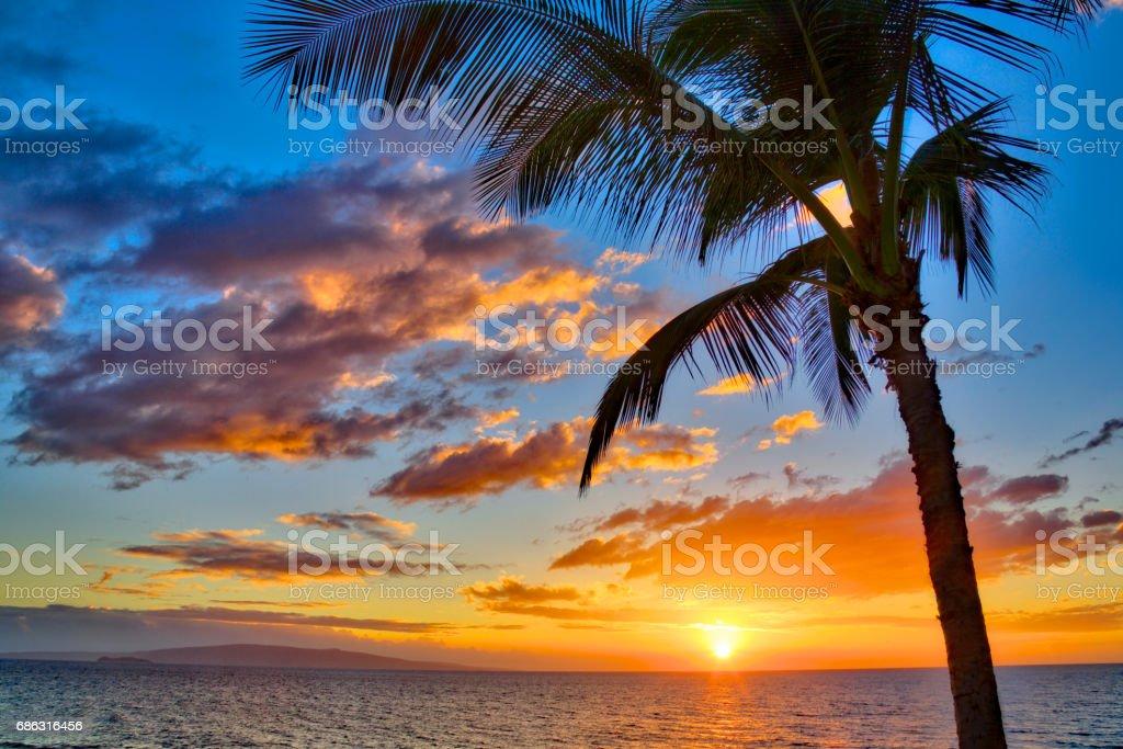 Sunset at Kamaole Beach stock photo