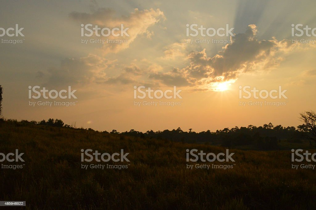 Sunset at Khaoyai National Park Thailand stock photo