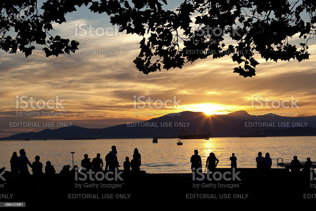 Sunset at Kitslano Beach in Vancouver stock photo