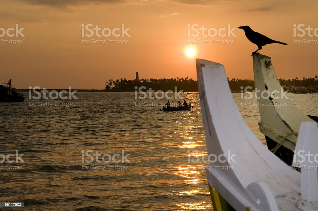 Sunset at Kollam beach with boats and bird. royalty-free stock photo