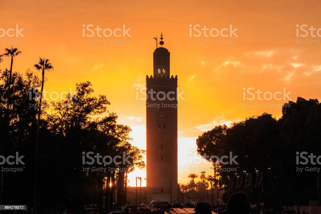 Sunset at Koutoubia Mosque in Marrakesh royalty-free stock photo
