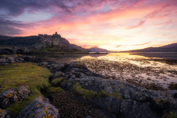 Sunset at Kyle of Lochalsh, Scotland, United Kingdom Sunset at Kyle of Lochalsh, Scotland, United Kingdom lake waterfowl stock pictures, royalty-free photos & images
