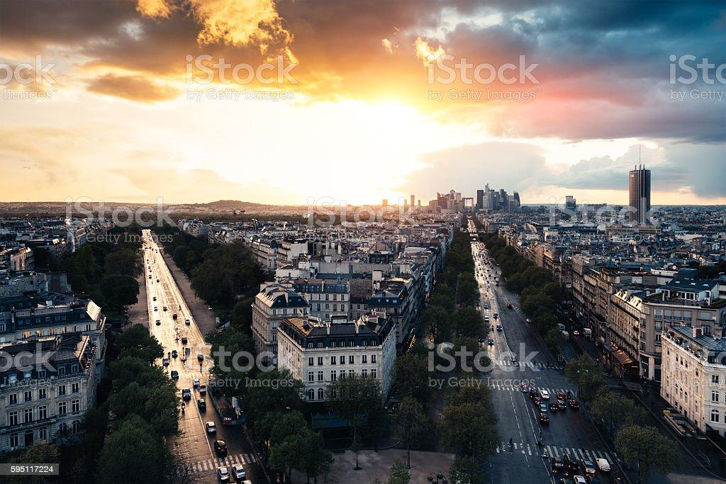 Sunset At La Defense In Paris stock photo