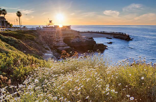 Tramonto a La Jolla cove beach, San Diego, California, USA - foto stock