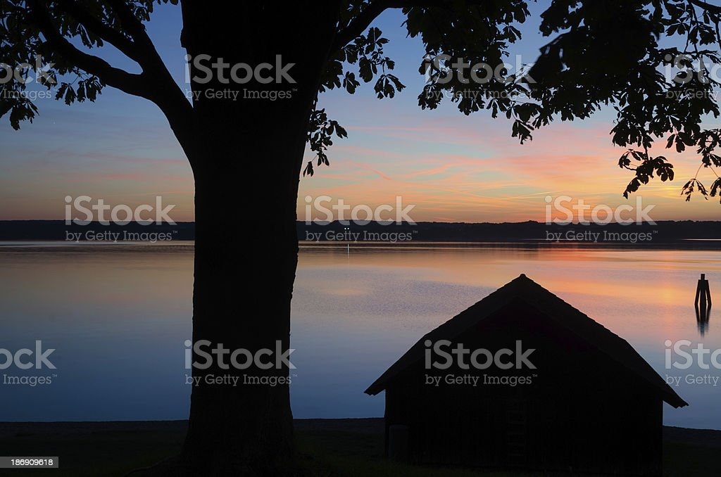 Sunset at Lake Ammersee royalty-free stock photo