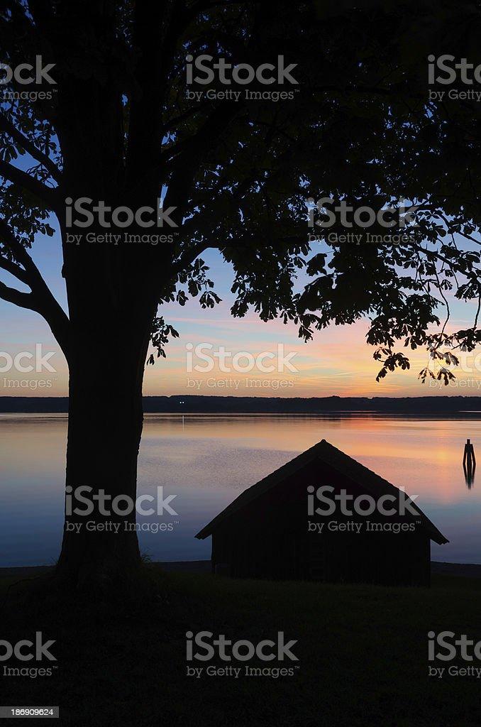 Sunset at Lake Ammersee royalty-free stock photo