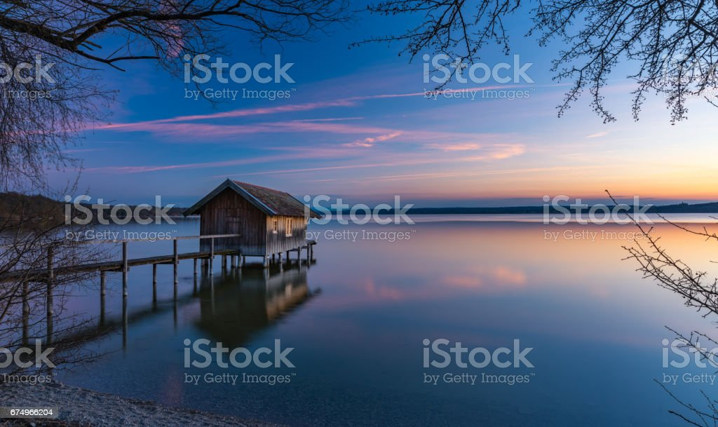 Sonnenuntergang am Ammersee stock photo