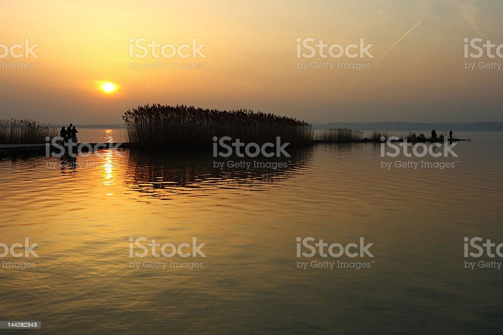 Sunset at Lake Balaton royalty-free stock photo