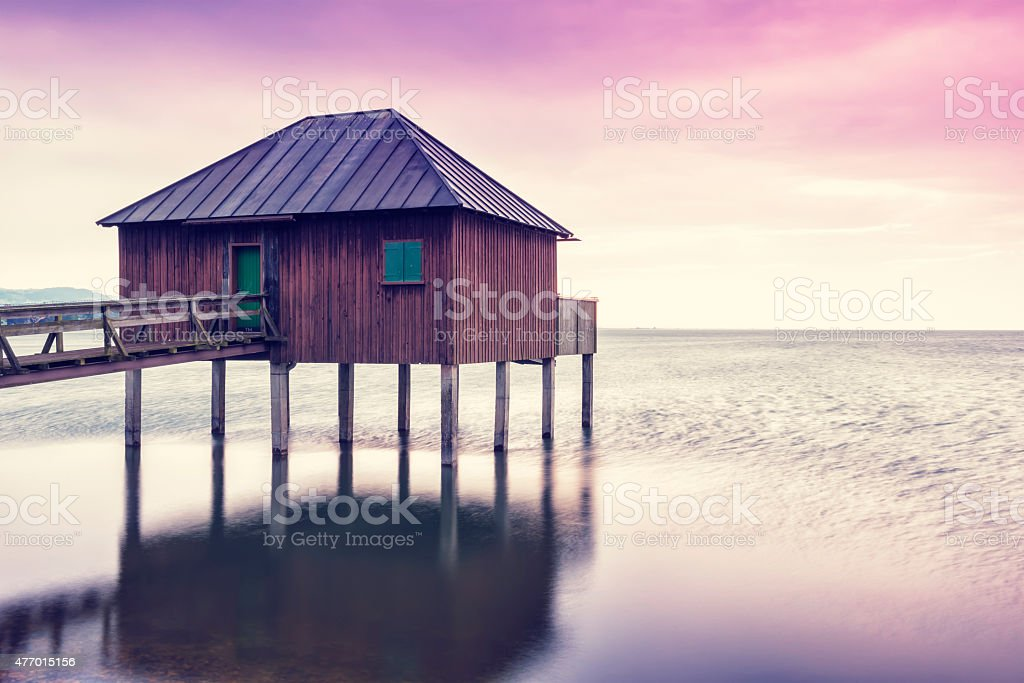 Sunset at Lake Constance (Bodensee) in Europe. stock photo