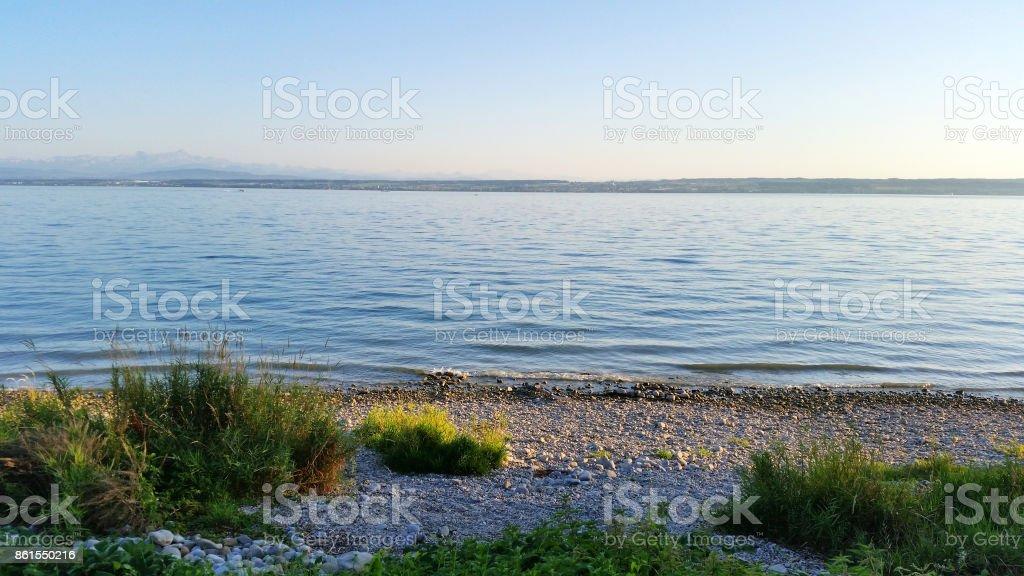 Sunset at Lake Constance, near Hagnau stock photo