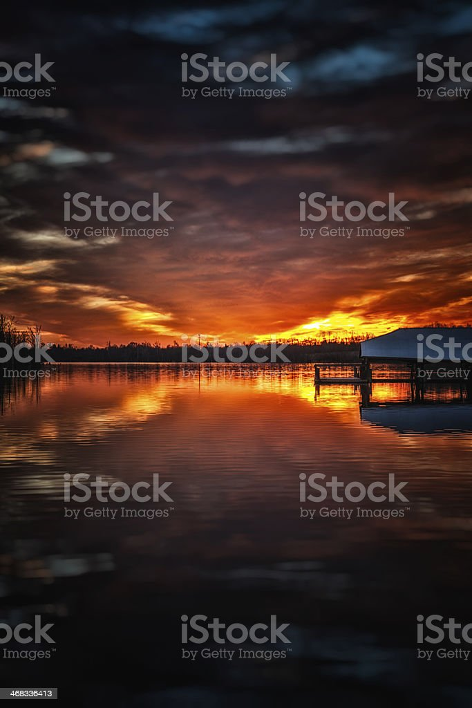 Sunset at Lake Dock stock photo