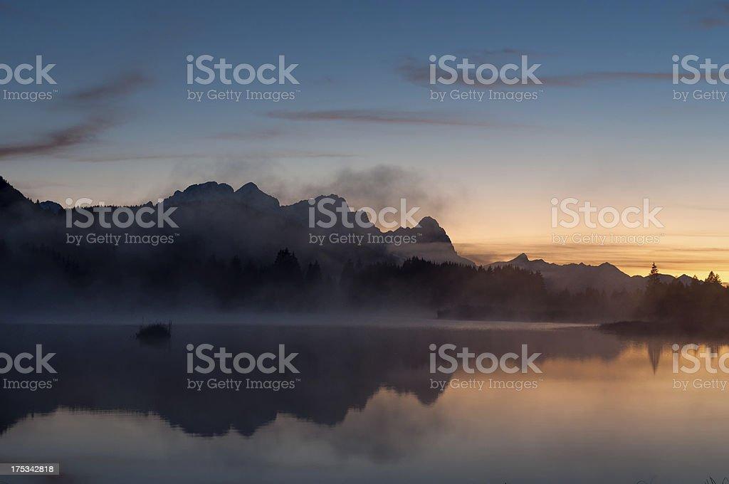 Sunset at Lake Geroldsee royalty-free stock photo