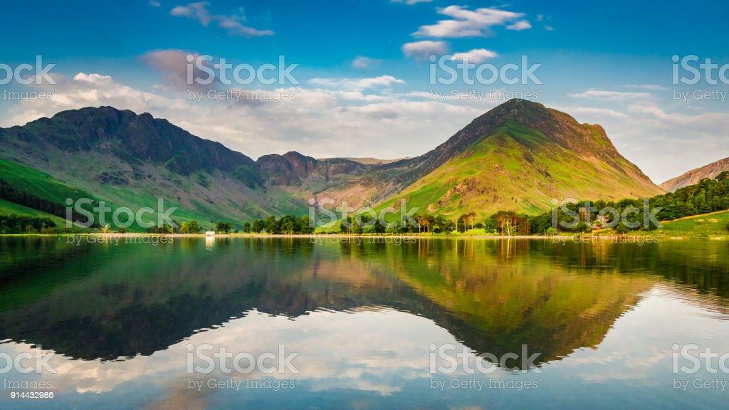 Sunset at lake in District Lake in summer, UK