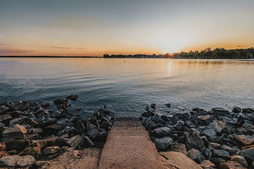 Steps leading into Lake Murray in Lexington, South Carolina