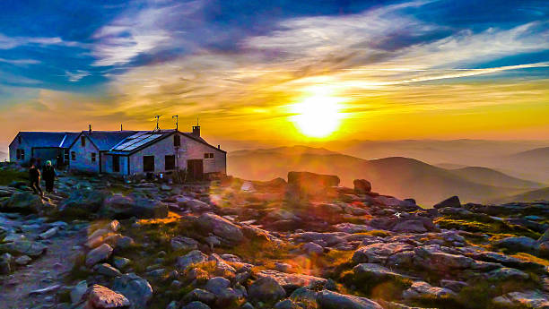 Sunset at Lake of the Clouds Hut on Mount Washington Sunset at Lake of the Clouds Hut, on Mount Washington in New Hampshire, in July. mount washington new hampshire stock pictures, royalty-free photos & images
