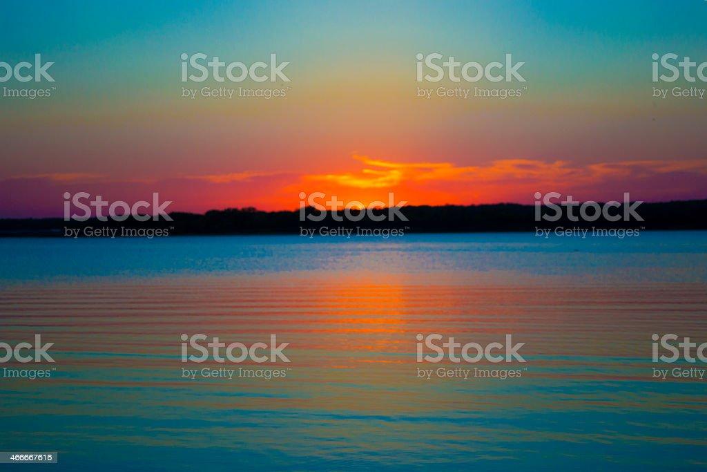 Sunset at Lake Texoma stock photo