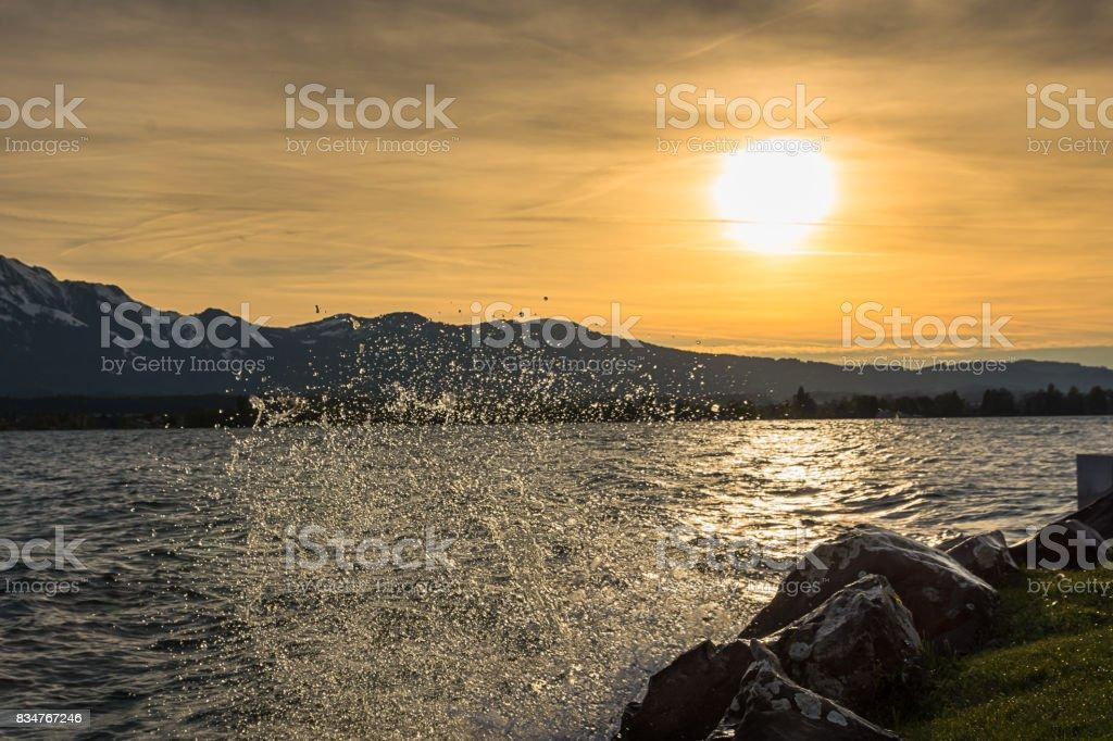 sunset at lake thun stock photo
