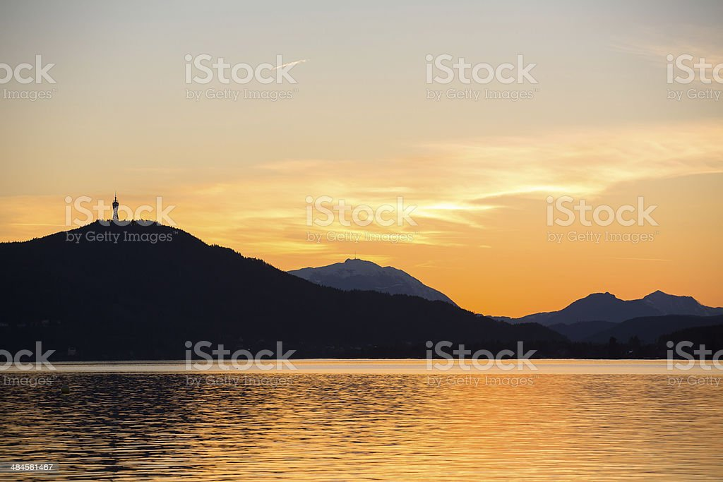 sunset at Lake Wörthersee royalty-free stock photo