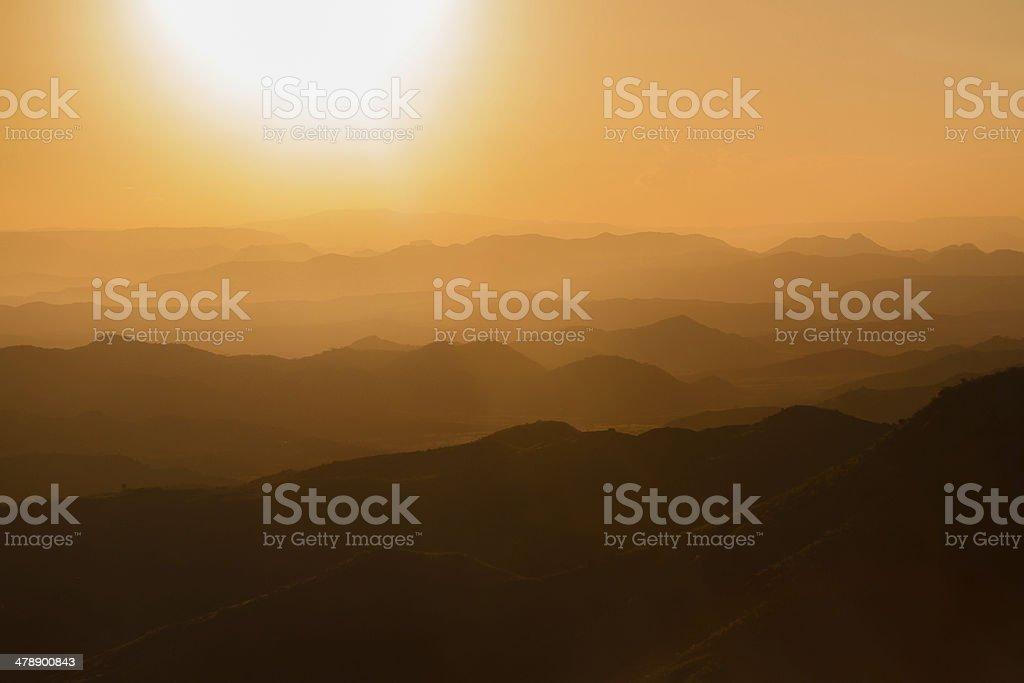 Sunset at Lalibela in Ethiopia stock photo