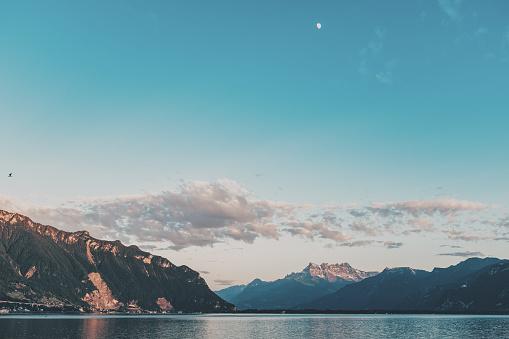 Sunset at Leman lake Geneva near Clarens Montreux Switzerland