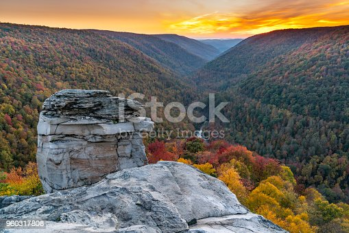 Sunset at Lindy Point over Blackwater Canyon in Blackwater Falls State Park, West Virginia