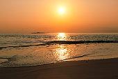 Sunset at Maldives beach, wild exotic island