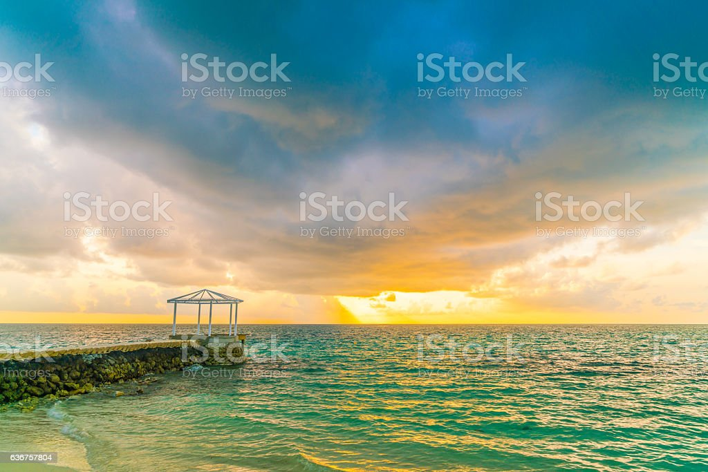 Sunset at Maldives stock photo