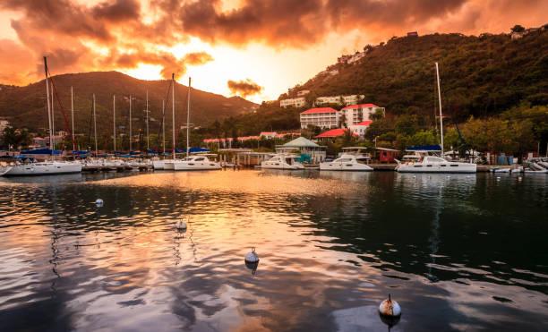 Sunset at Marina in Tortola stock photo