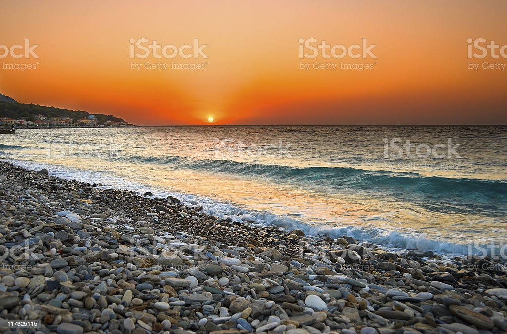 Sunset at Mediterranean Beach royalty-free stock photo