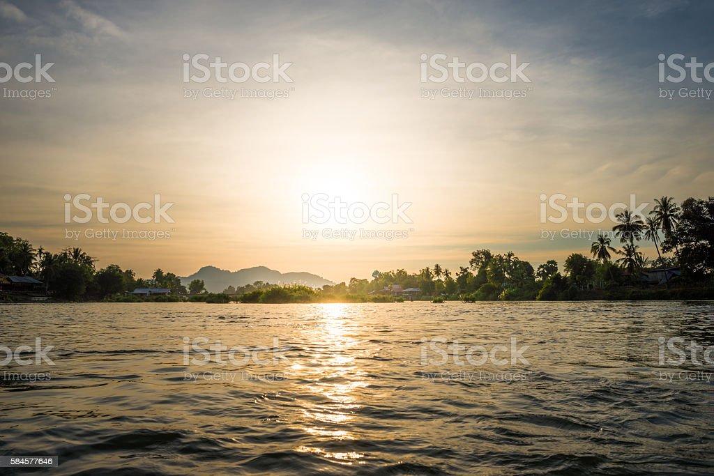 sunset at Mekhong river stock photo